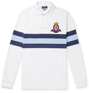 POLO RALPH LAUREN Logo-Embroidered Striped Cotton-Jersey Rugby Shirt M Med DW52