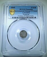 PCGS Colombia 1849 Silver 1/4 Real Antique Rare 1800's Popayan VF Colombian Coin