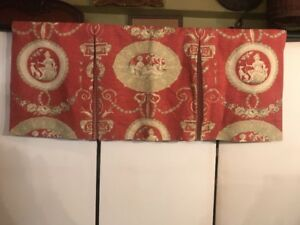"""FAB Lined Window Valance French Victorian Toile Fabric Dusty Red w Beige 33""""x14"""""""