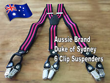 Formal, High-Quality, 6-Clip Men's Suspenders (Aussie Brand: Duke of Sydney)