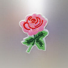 Pink Rose Patch (Stem) — Iron On Badge Embroidered Motif — Roses Flower Flowers