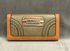 NEW GUESS BROWN MADERA SLIM TRIFOLD CLUTCH WALLET