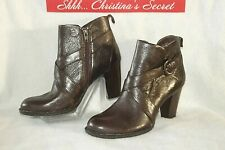 BORN Womens Ankle Boots Leather Brown Booties Heels Sz 7.5 / 38.5 *XLNT+++