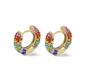 Small Gold Rainbow Crystal Huggie Hoop Earrings, NEW 2021