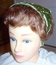Bandana Hat ® Unseen Headband Secures Toddler Size Olive Green Velour Handcrafed