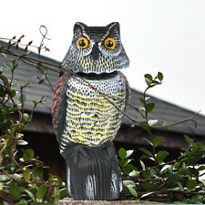 More details for large realistic owl decoy deterrent bird pigeon crow scarer statue rotating head