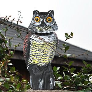 Large Realistic Owl Decoy Deterrent Rotating Head Bird Pigeon Crow Scarer Statue