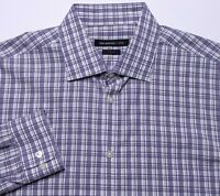JOHN VARVATOS USA Long Sleeve Dress Shirt Purple Plaid 16 34/35 Slim Fit Medium