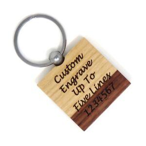 Square Maple Rosewood Key Chain - Custom Engraved - Wood - Choose Font - USA