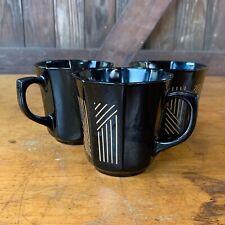 Vintage Arcopal Arcoroc Black Gold Striped Octagon Mugs Octime France Set/3