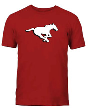 Men's Calgary Stampeders Red Primary Logo CFL Football 100% Cotton T Shirt