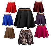 Womens Skater Skirt Belted Flared Jersey Mini Party Dress Skirt Ladies Girl 8-14