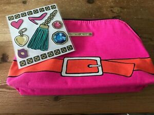 Estee Lauder Face pink buckle Makeup Cosmetic Wash Travel Bag New free stickers