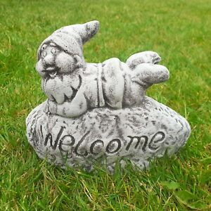 Latex And Fibreglass Mould of WELCOME GNOME ROCK Garden Ornament Moulds
