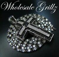 NEW!!! 14k White Gold Gp Chain+CUSTOM MADE iced Cross Simulate BLACK Diamond out