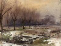 EDITH FISHER (c.1885-1936) Watercolour Painting WINTER LANDSCAPE 1900
