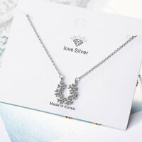 Fashion Women Jewelry 925 Sterling Silver Austrian Crystal Pendant Necklace 17''