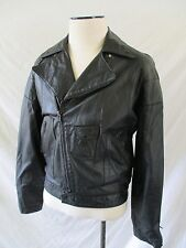80s MOTORCYCLE black leather padded elbow European motorcycle jacket 48 38