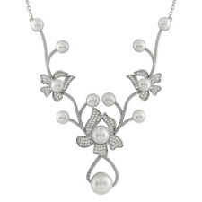 Fancy Sterling Silver necklace with 6-10 button pearls and CZ NSR-221