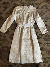 Vintage Haute Couture 1960's Dress Glass Crystals Fragile Condition Silk Beige