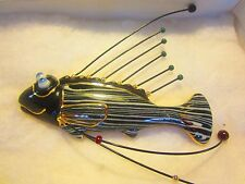 """Cynthia Chuang """"Jewelry10"""" LARGE PIN 3¼"""" x 4""""  (3-D) Black & Gold Fish & PAPERS"""