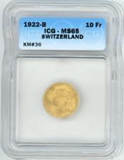 Switzerland 10 Francs 1922-B ICG-MS65 Gem Uncirculated gold