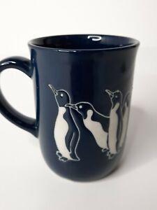 Ceramic Penguin Embossed Blue Mug Coffee Tea Drink Cup 10oz.
