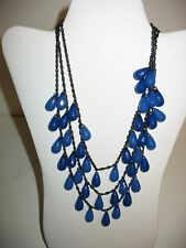 Joan Rivers Necklace Multi Strand 17 Inches Blue Beaded Signed String Black