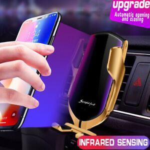 Qi Car Wireless Charger Fast Automatic Clamping & Mount Holder GPS Smart Sensor