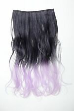 Extension Hair Extension 5 Clip-In Curly Bi-Coloured Ombre Black-Purple 50cm