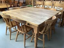 Lovely Large Pine Farmhouse Table With Four Drawers
