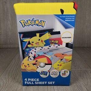 Pokemon Pikachu Lightning Bolt 4pc Full Bed Microfiber Sheet Set Vibrant Colors