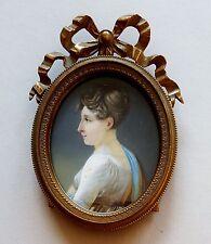 Biedermeier Miniatur Portrait einer jungen Dame, Gouache Malerei