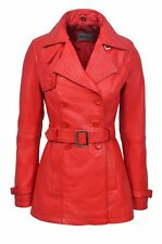 TRENCH Ladies Red Classic Mid-Length Designer Real Soft Leather Jacket Coat