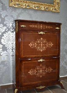Scarpiera a ribalta antica in legno Luigi XV radica di noce intarsiato k210i
