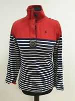 P164 WOMENS JOULES RED BLUE WHITE STRIPED STRETCH BUTTON NECK JUMPER UK 8 US 4