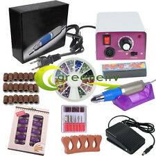 Professional Electric Nail File Acrylic Manicure Drill Sand Machine Kit set New