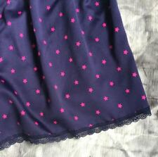 UK SIZE 14 Satin Bed Pyjama PJ Shorts Navy Blue & Pink Star Black Lace trims NEW