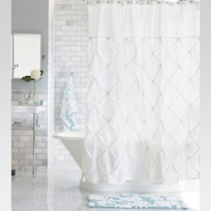 "THRESHOLD Wave Lines Shower Curtain 100% Cotton | White | 72"" x 72"" 