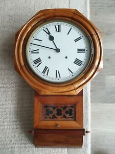 Very Attractive French Polished Anglo American Drop Dial Wall Clock