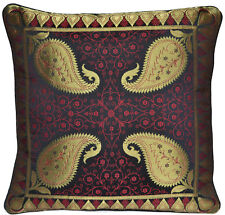 3x Black Cushion Covers Antique Style Banarasi Silk Gold Paisley 40cm Square