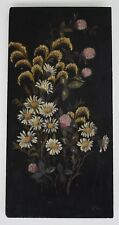 Victorian Daisies Floral Still Life Oil Painting on Black Board FOLK ART Signed