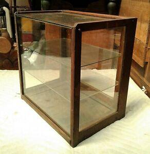 Antique Oak Country Store Small Counter Top Showcase w Glass Shelves 1920s Era
