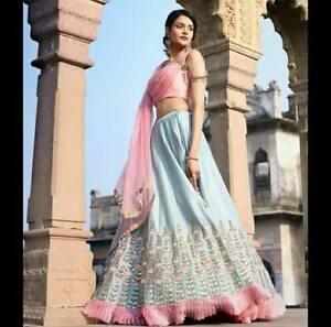 Indian Lehenga Choli Floral Bollywood Wedding Partywear Frills Lengha Saree