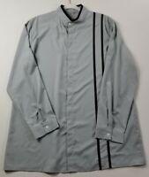 Mens Long Sleeve Button Up Shirt 3XL XXXL Gray Black Stripe Banded Collar Casual