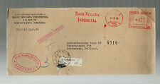 1956 Indonesia Bank Negara Metered registered Airmail Cover to Holland