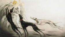 Woman with Greyhounds : Louis Icart : Fine Art Print