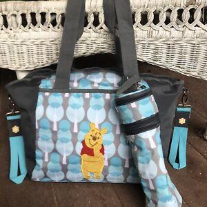 Disney Baby Pooh Blue Gray 7 Pocket Diaper Bag Bottle Tote Changing Pad  Zip Up
