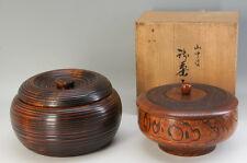 MINT JPN YAMANAKA-NURI + KOMA-NURI URUSHI Wood Sweets Bowl 2pc Free Ship 685f07