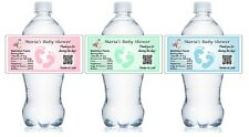 30 PERSONALIZED BABY SHOWER WATER BOTTLE LABELS PARTY FAVORS waterproof ink